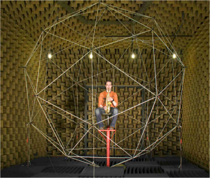 Pcture of the microphone array for measuring directivities of musical instruments including a saxophone player. The microphones are arranged at the tips of a Pentakis-Dodecahedron at a radius of 2 m.