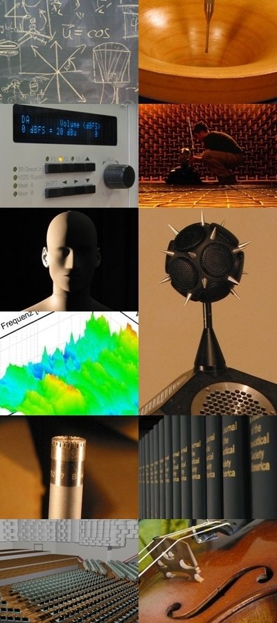 Pictures with accoustical contents , like loudspeaker, microfone, concerthall, dummyhead.
