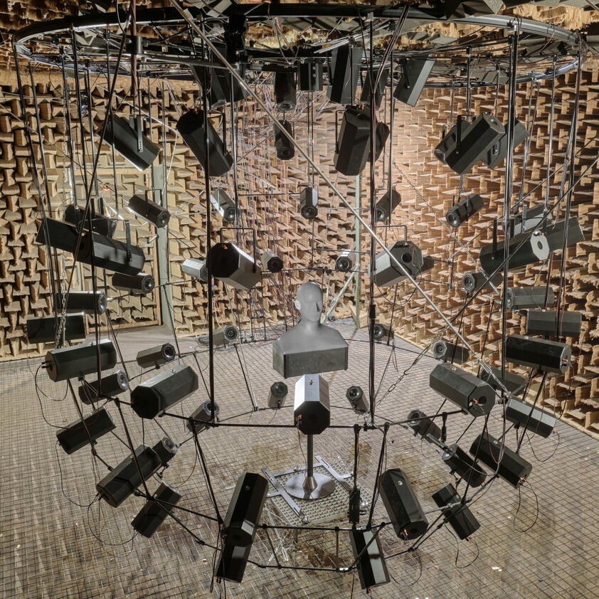 Loudspeakersetup in an anechoic chamber